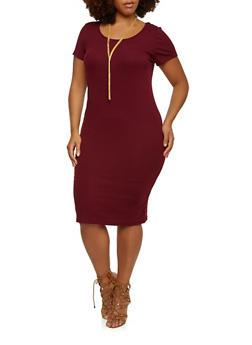 Plus Size Rib-Knit Midi Dress with Scoop Neck - 3390060582497