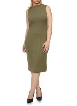 Plus Size Sleeveless Ribbed Mock Neck Midi Dress - 3390060582656