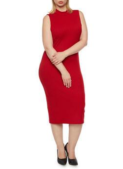 Plus Size Sleeveless Midi Dress in Ribbed Knit - 3390060582656
