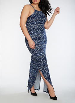 Plus Size Printed Soft Knit Maxi Dress - 3390060582883