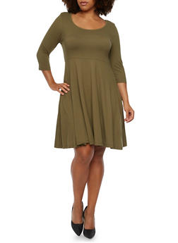 Plus Size Brushed Knit Swing Dress - 3390060583250