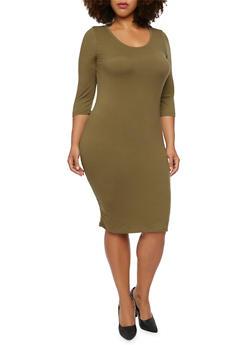 Plus Size Knit Midi Dress - 3390060583350