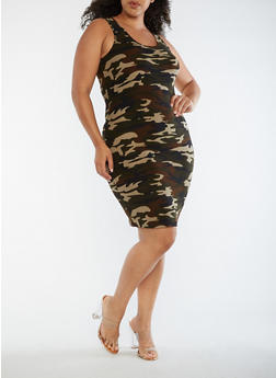 Plus Size Camo Print Midi Tank Dress - 3390060583374