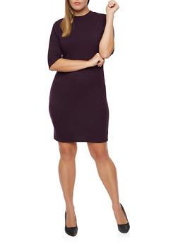 Plus Size Mock Neck Dress in Rib Knit - 3390060583656