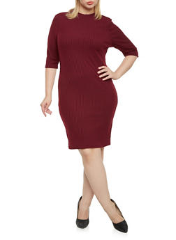 Plus Size Mock Neck Dress in Rib Knit - 3390060583656