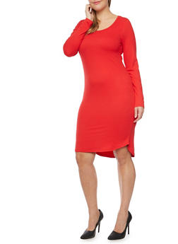 Plus Size Knit Dress with Long Sleeves - 3390060589250