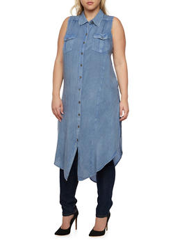Plus Size Chambray Shirt Dress with High Side Slits - 3390061630143