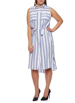 Plus Size Striped Shirt Dress with Waist Tie Cinch - 3390061630415