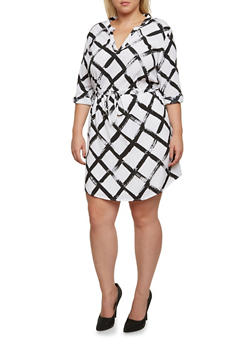 Plus Size Dress in Lattice Print - 3390061632911