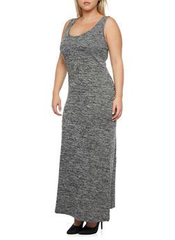 Plus Size Sleeveless Marled Knit Maxi Dress - 3390061633549
