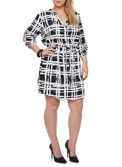 Plus Size Dress in Abstract Plaid Print - 3390061633911
