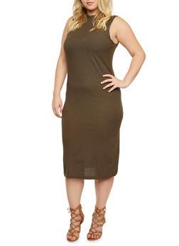 Sleeveless Mock Neck Rib Knit Dress - 3390061634119