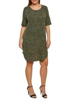 Plus Size Knit Space-Dye T-Shirt Dress - 3390061639429