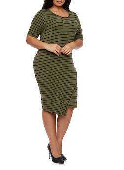 Plus Size Striped Dress with Asymmetrical Skirt - 3390061639436