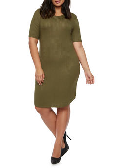 Plus Size Ribbed T-Shirt Dress - 3390061639443