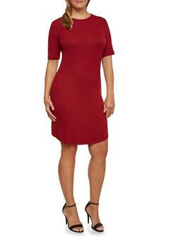 Plus Size Ribbed T-Shirt Dress - 3390061639443