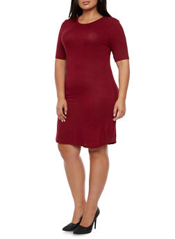 Plus Size Ribbed T-Shirt Dress - BURGUNDY - 3390061639443