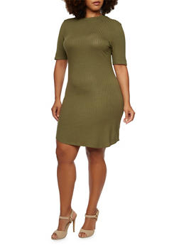 Plus Size Rib-Knit Dress with Mock Neck - 3390061639444