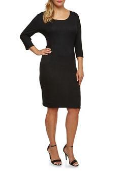 Plus Size Rib Knit Midi Dress - 3390061639445