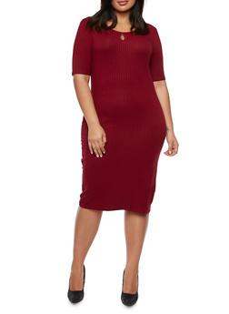 Plus Size Rib Knit Midi Dress with Keyhole Cutout - 3390061639446
