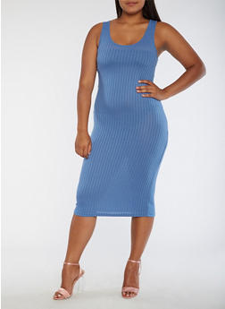 Plus Size Ribbed Knit Tank Dress - 3390061639508