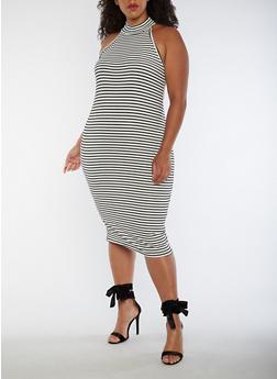 Plus Size Striped Choker Neck Bodycon Dress - 3390061639614