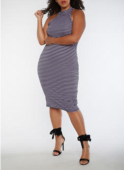 Plus Size Striped Choker Neck Bodycon Dress - 3390061639614