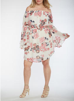 Plus Size Off the Shoulder Dress with Bell Sleeves - 3390068700559