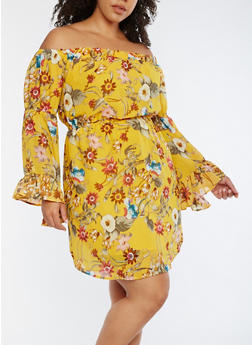 Plus Size Floral Off the Shoulder Dress - 3390068700573