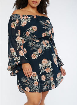 Plus Size Floral Off the Shoulder Dress - 3390068700744
