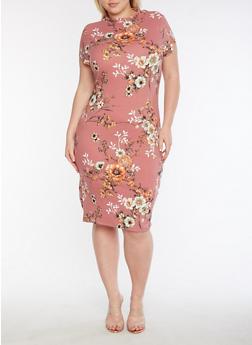 Plus Size Short Sleeve Printed Midi Dress - 3390069390226