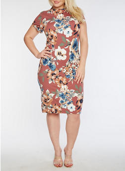 Plus Size Short Sleeve Floral Printed Midi Dress - 3390069390228