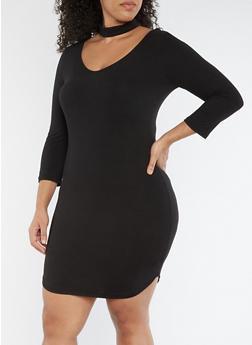 Plus Size Choker Neck Bodycon Dress - 3390069390327