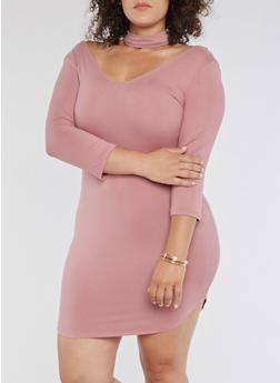 Plus Size Choker Neck Bodycon Dress - MAUVE - 3390069390327