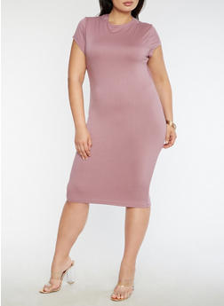 Plus Size Funnel Neck Midi Dress - 3390069392179