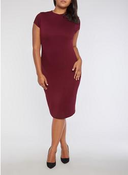 Plus Size Funnel Neck Midi Dress - 3390069392179