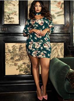 Plus Size Floral Choker Neck Bodycon Dress - 3390069392327