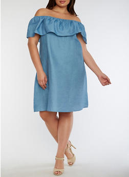 Plus Size Off the Shoulder Chambray Shift Dress - 3390069392680