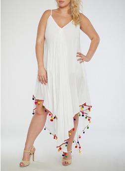 Plus Size Embroidered Fringe Dress - 3390070650080