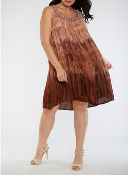 Plus Size Tie Dye Studded Dress - 3390070651201