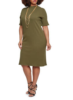 Plus Size Ribbed Dress with Short Sleeves - 3390073370501