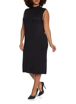 Plus Size Sleeveless Midi Dress with Mock Neck - BLACK - 3390073370503