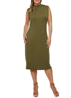 Plus Size Sleeveless Mock Neck T Shirt Dress - 3390073370503