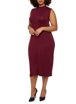 Plus Size Sleeveless Midi Dress with Mock Neck - 3390073370503