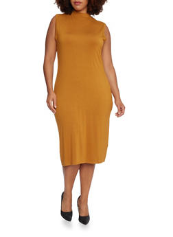 Plus Size Sleeveless Mock Neck T Shirt Dress - GOLD S - 3390073370503