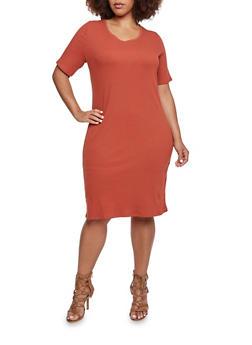 Plus Size Midi Dress with Scoop Neck - 3390073370507