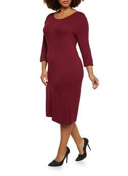 Plus Size Midi Dress with Scoop Neck - 3390073370508