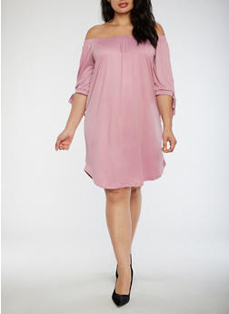Plus Size Off the Shoulder Shift Dress - 3390073373610