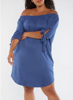 Plus Size Off the Shoulder Shift Dress - 3390073373610