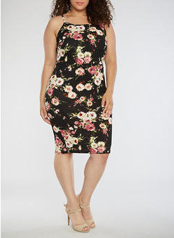 Plus Size Floral Tank Dress - 3390074013968